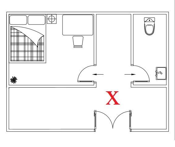 Cửa nhà vệ sinh đối diện cửa phòng ngủ - Đại kỵ
