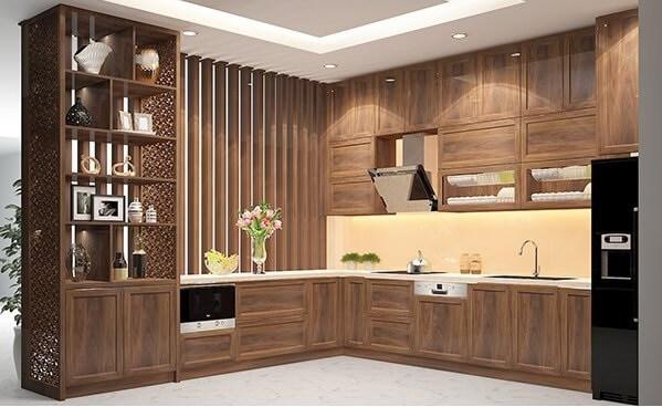 Top 30】Mẫu tủ bếp gỗ tự nhiên hình chữ L đẹp nhất 2020 | Lạc An
