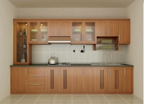 Mẫu tủ bếp xoan đào hiện đại
