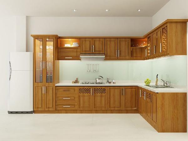Tủ bếp xoan đào bền, đẹp, giá thành hợp lý