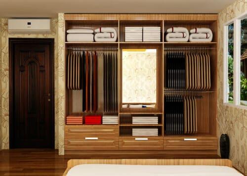 Tủ quần áo bằng gỗ xoan đào thiết kế nhiều ngăn tiện lợi cho bạn