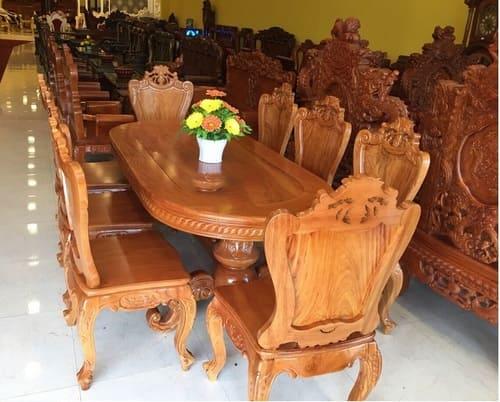 bàn ăn cổ điển gỗ gõ đỏ 8 ghế sang trọng