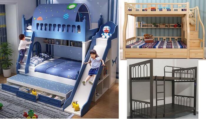 Các loại giường tầng hiện nay làm từ nhựa công nghiệp, gỗ tự nhiên hoặc sắt. Ưu điểm nổi bật: Giường nhựa công nghiệp có thiết kế, mẫu mã bắt mắt; giường sắt rẻ; còn giường gỗ thì chắc chắn, bền bỉ và tốt cho sức khỏe.
