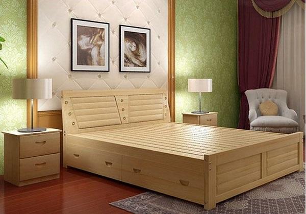 Giường gỗ Sồi giúp căn phòng thêm hiện đại, thanh lịch
