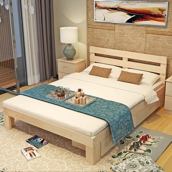 Giường ngủ gỗ được làm từ gỗ thông