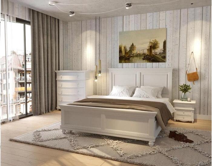 Giường ngủ queen size hiện đại mà ấm cúng