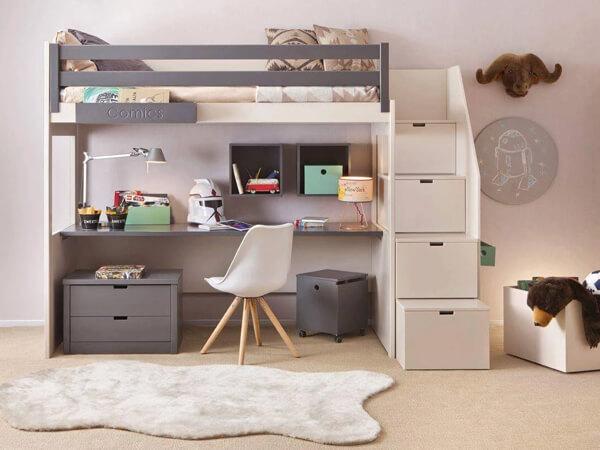 Mẫu giường tầng kết hợp với bàn làm việc