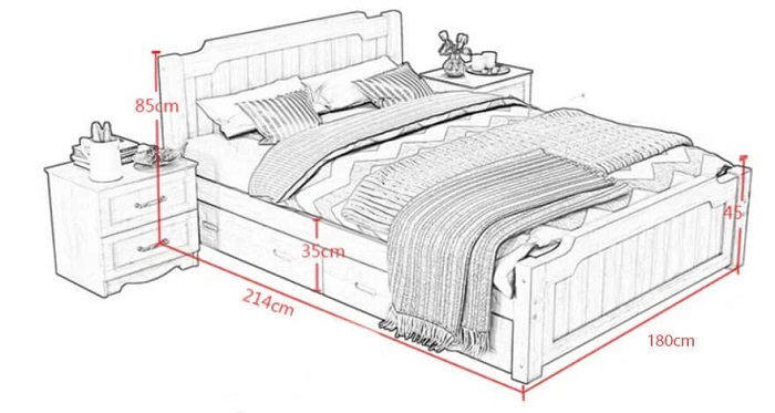 Kích thước giường ngủ king size theo lỗ ban