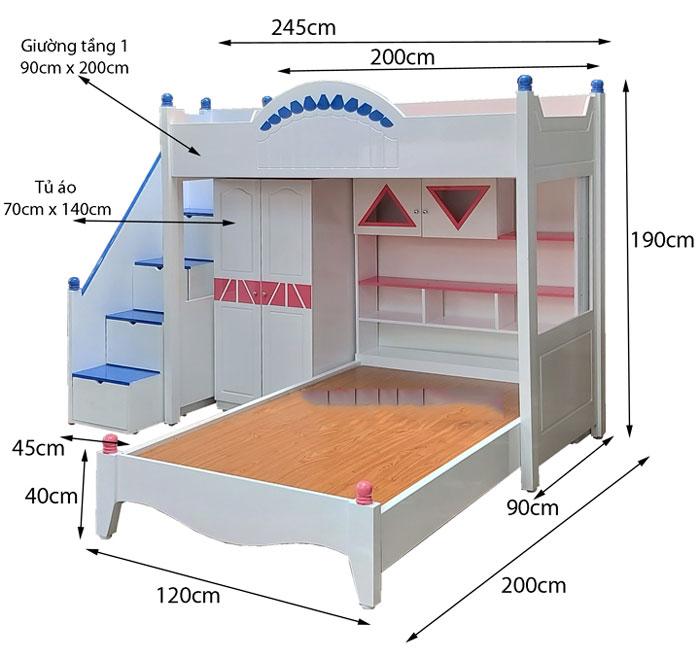 Kích thước giường tầng dành cho trẻ em