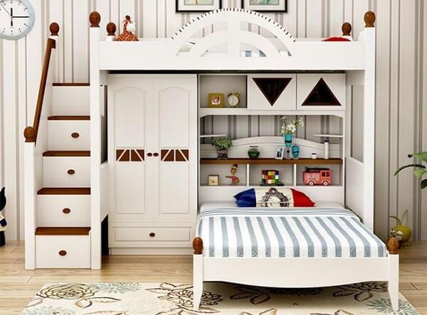 Mẫu giường tầng kết hợp với tủ quần áo