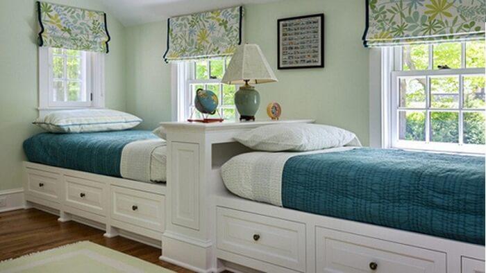 Thiết kế 2 giường ngủ thẳng hàng với nhau