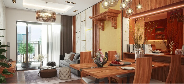 thiết kế phòng ăn bằng gỗ thông đỏ