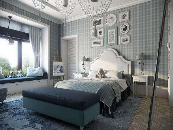 Trang trí đầu giường bằng giấy dán tường có họa tiết hiện đại