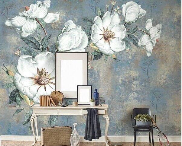 Trang trí đầu giường bằng giấy dán tường