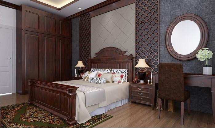 Trang trí đầu giường bằng gỗ