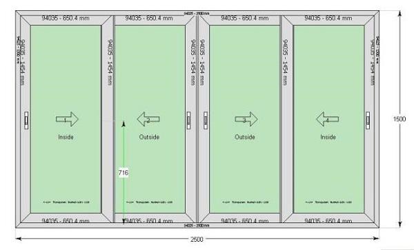 kích thước cửa gỗ 4 cánh mặt tiền
