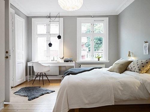 Tông màu sáng giúp căn phòng thêm rộng rãi