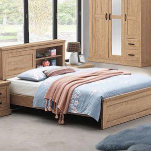 Giường gỗ 1m2 với thiết kế tận dụng không gian của đầu giường