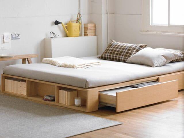 Giường gỗ chân thấp