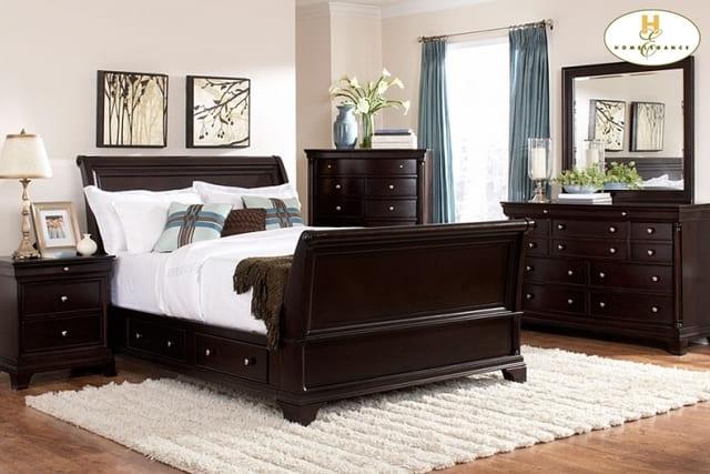 giường gỗ tân cổ điển