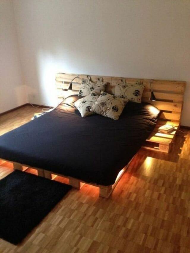 giường ngủ làm bằng gỗ Pallet