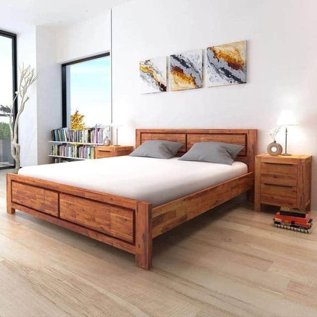 Giường gỗ keo chân thấp