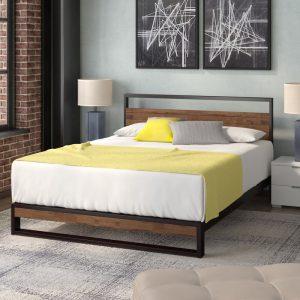 Giường gỗ keo chân thấp khung sắt KK01