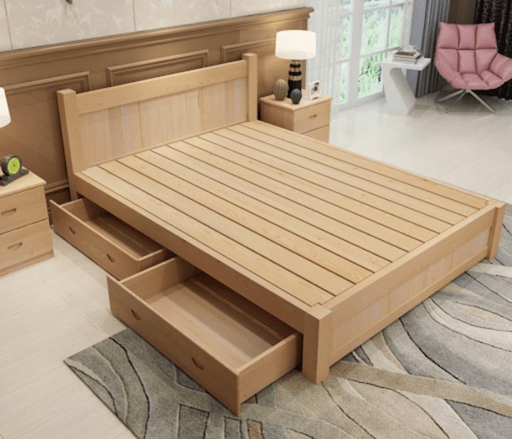 Giường hộp có ngăn kéo gỗ công nghiệp