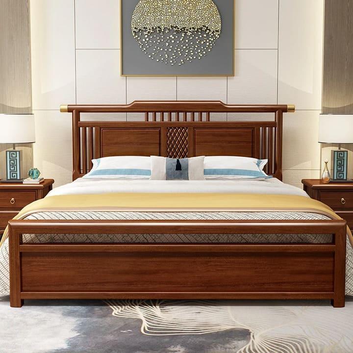 Giường ngủ tân cổ điển gỗ óc chó