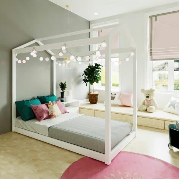 Giường ngủ trẻ em gỗ keo sơn trắng