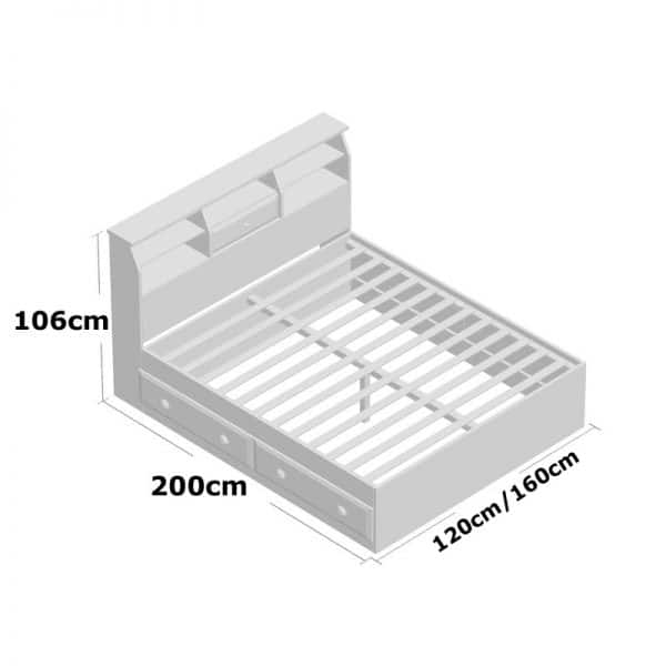 Giường ngủ có ngăn kéo gỗ keo sơn trắng