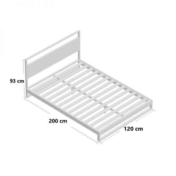 Kích thước giường gỗ keo chân thấp khung sắt KK01