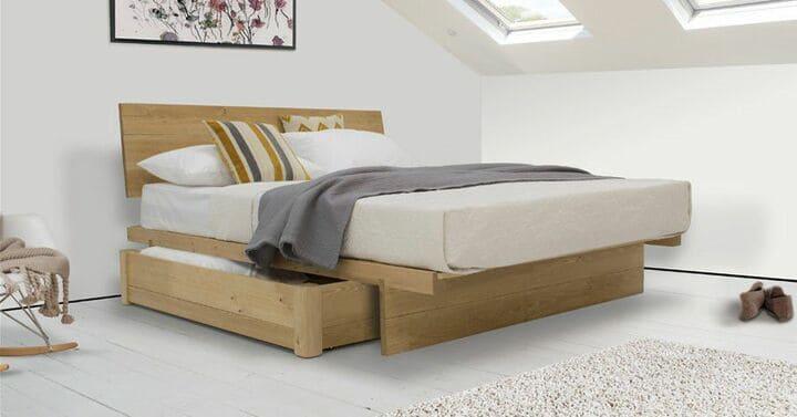 giường hộp có ngăn kéo gỗ tự nhiên