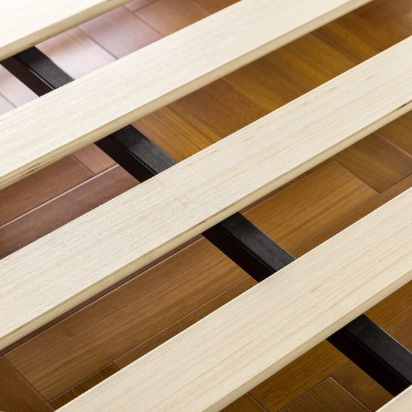 Nan giường gỗ keo chân thấp khung sắt