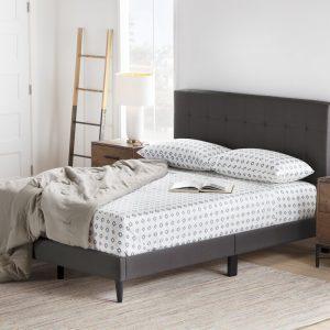 Sản phẩm giường ngủ bọc da khung gỗ đen BN02