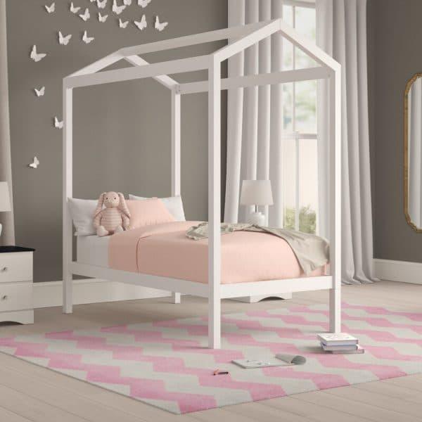 giường ngủ rẻ em gỗ keo trắng