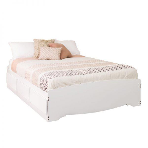 Giường có ngăn kéo gỗ keo KT01 sơn trắng