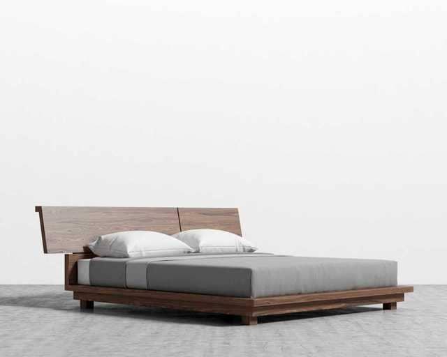Giường gỗ chân thấp sang trọng