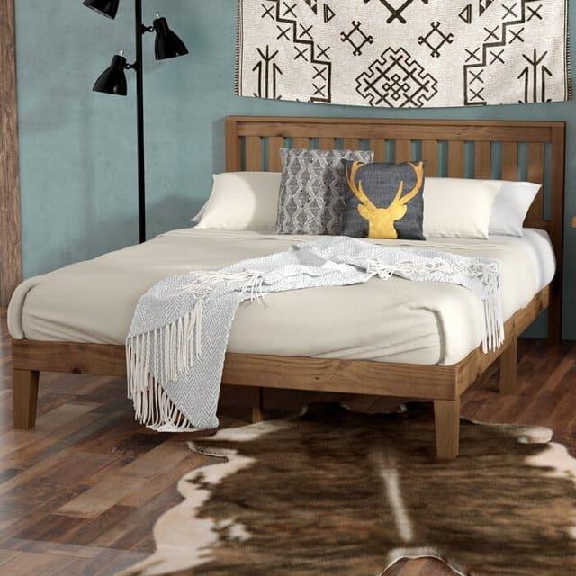 Giường gỗ keo giá rẻ chân thấp cho sinh viên
