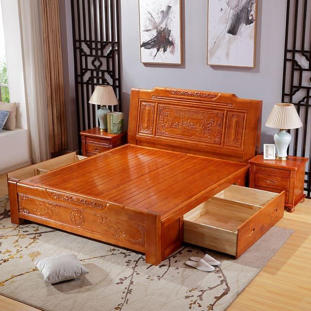 Giường gỗ xoan đào 1m4 x 2m