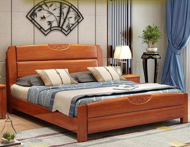 Giường ngủ gỗ xoan đào đuôi cong