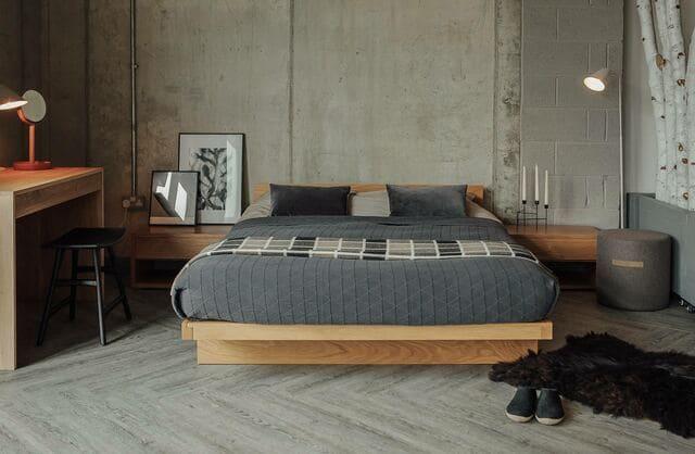 Giường phản chân thấp đơn giản
