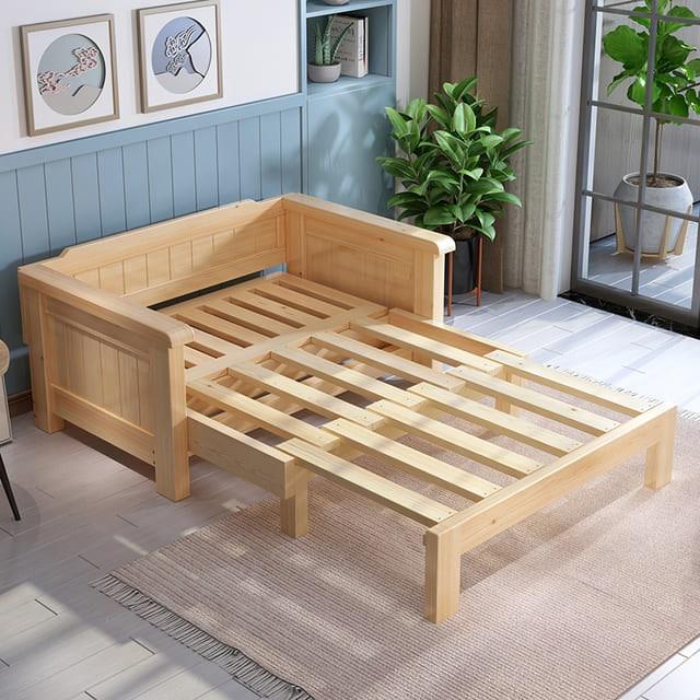 ghế gỗ kéo ra thành giường
