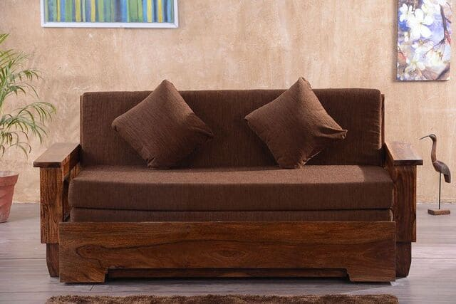 ghế gỗ kiêm giường ngủ bằng gỗ
