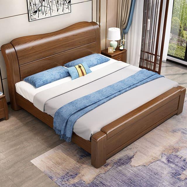 Giường gỗ óc chó hiện đại