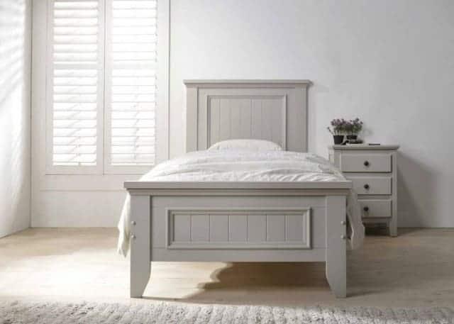 giường đơn gỗ sơn xám
