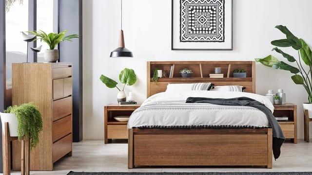 Giường ngủ đôi gỗ tự nhiên