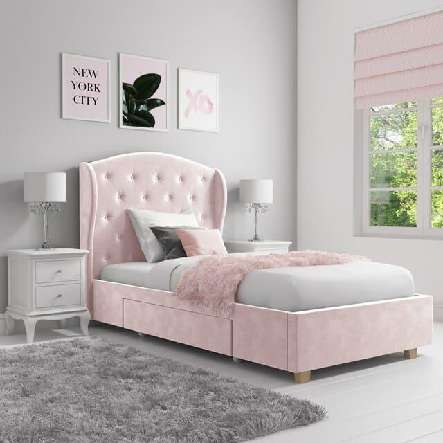 giường đơn bọc nệm hồng