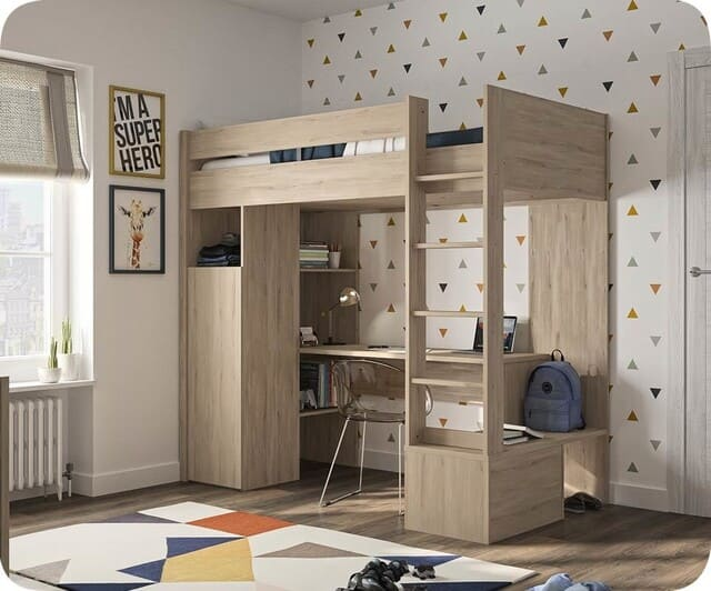 Giường tầng thông minh gỗ