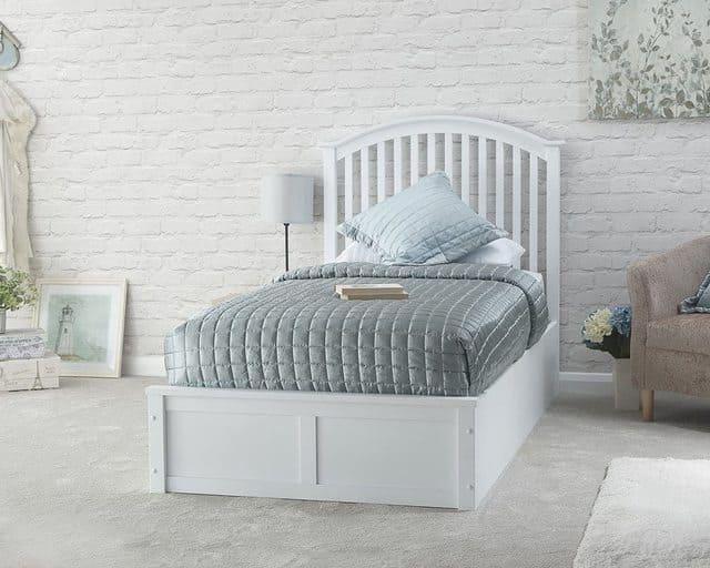 giường đơn gỗ trắng